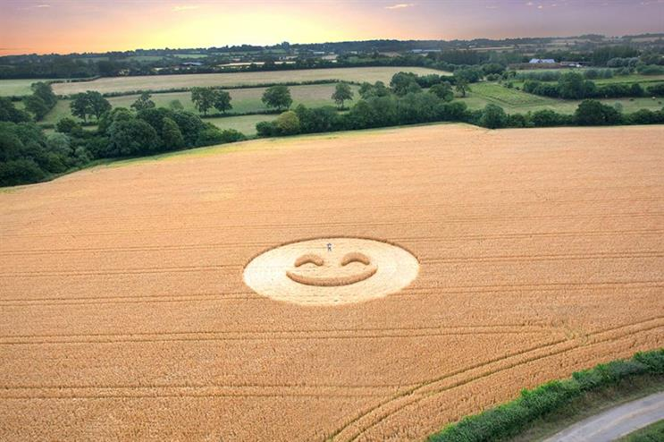 One of the emojis was carved into a field near Chippenham