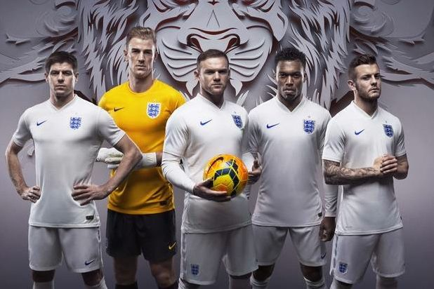 The England football team: sports the new Nike-sponsored kit