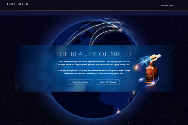 Estée Lauder: The Beauty of Night site encourages women to discuss their nightly skin-care regimes
