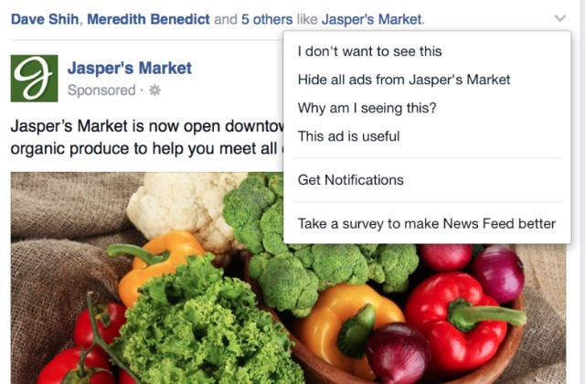 Facebook: now asks users why they hide ads