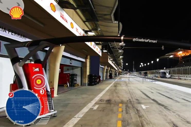 Shell: augmented reality enables viewers to step inside the Ferrari F1 garage