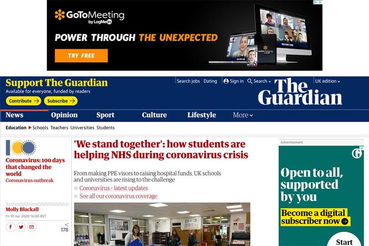Online display ads: as shown on Guardian site