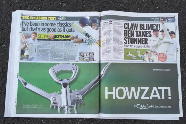 Carlsberg: celebrates England's Ashes win