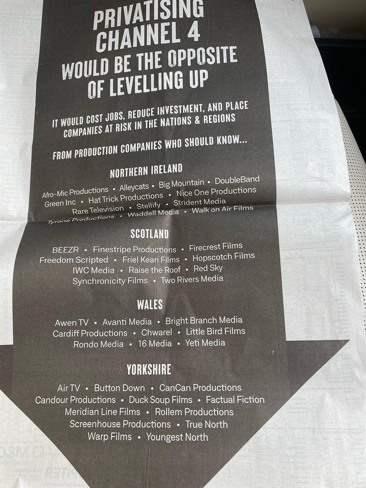 Production companies: ran full-page ad in today's Telegraph