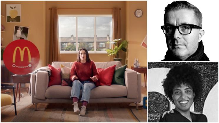 Clockwise from top-right: Murphy, Bryan-Fasano and Just Eat's latest TV ad