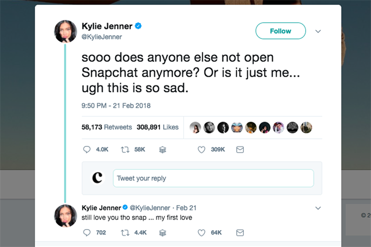 Snap's shares plummet after Kylie Jenner tweet