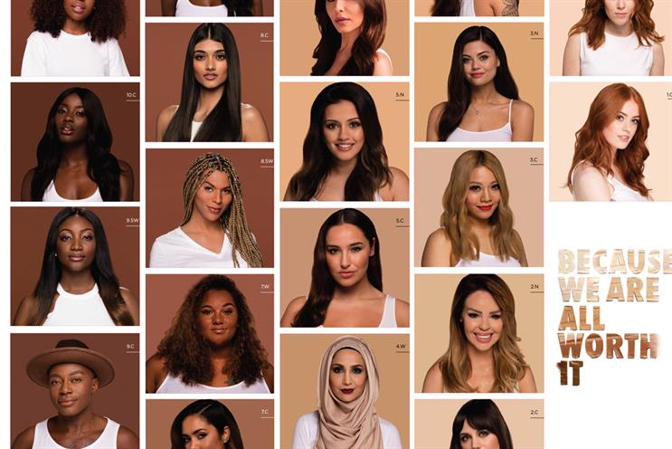 Munroe Bergdorf (second from top, second row) is no longer part of the campaign