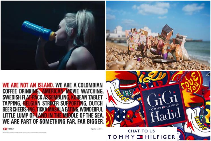 Clockwise from top left: Lucozade, Zoopla, Tommy Hilfiger, HSBC