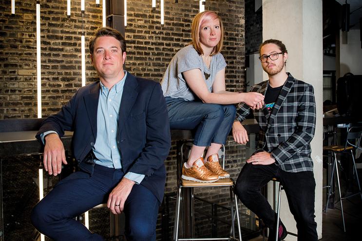 (l-r) Alex Cowell, chief technology officer; Caitlin Evans, senior planner; Jack Gallon, creative director