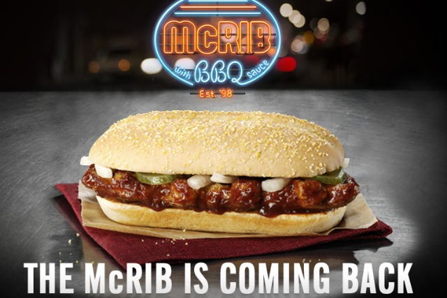 McDonald's: elusive McRib returning on 31 December