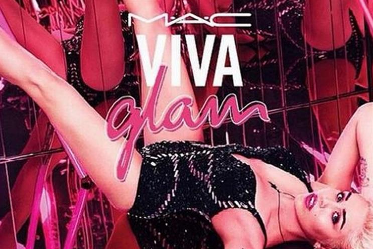 Miley Cyrus: featured in this outdoor ad for MAC's Viva Glam campaign