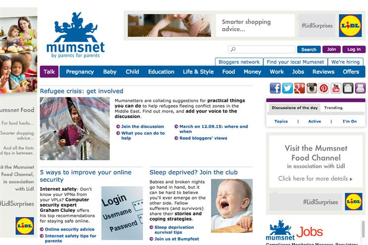 Mumsnet: The Lidl sponsorship includes a homepage takeover
