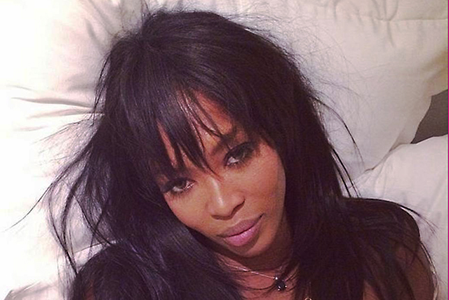 Naomi Campbell in full make-up for #WakeUpCall