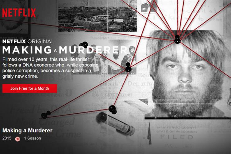 Netflix: big hits like 'Making a Murderer' kept the streaming service popular among millennials