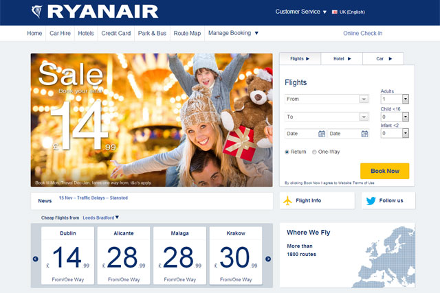 Ryanair: updates website