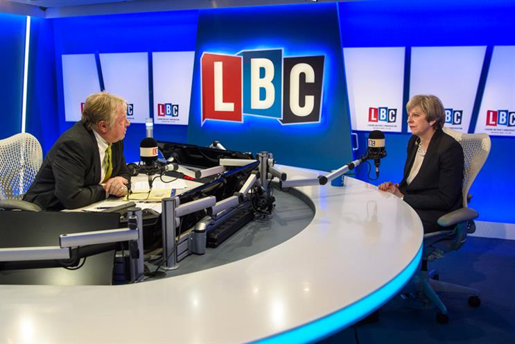 LBC: Presenter Nick Ferrari with prime minister Theresa May