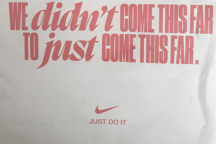 Nike: poignant ad ran in national newspapers