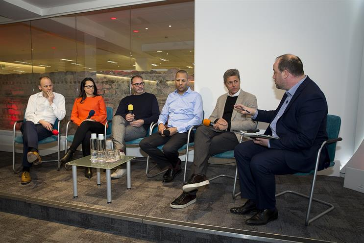 Ozone: Piers North (Reach), Dora Michail (Telegraph), Hamis Nicklin (The Guardian), Dominic Carter (News UK), Damon Reeve (Ozone Project) and Campaign's Gideon Spanier