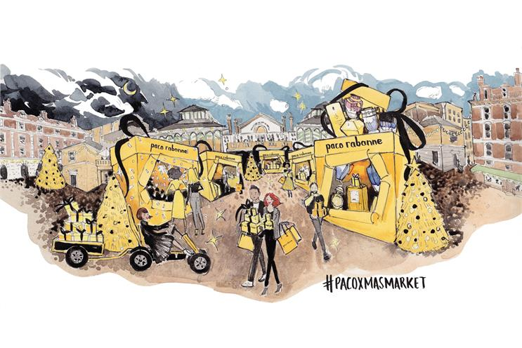 Paco Rabanne opens Christmas markets with 'golden blasts of glitter'