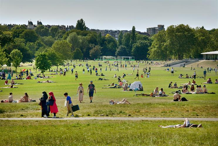 Regents Park, May 2020. Two people can meet in parks next week (Photo: Jeff Overs/BBC/Getty)