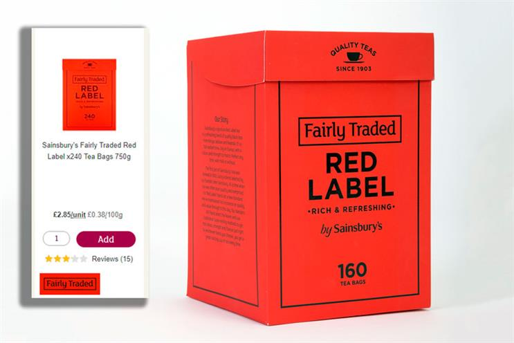 Sainsbury's Fairly Traded tea: website listing (left) and product shot (right)