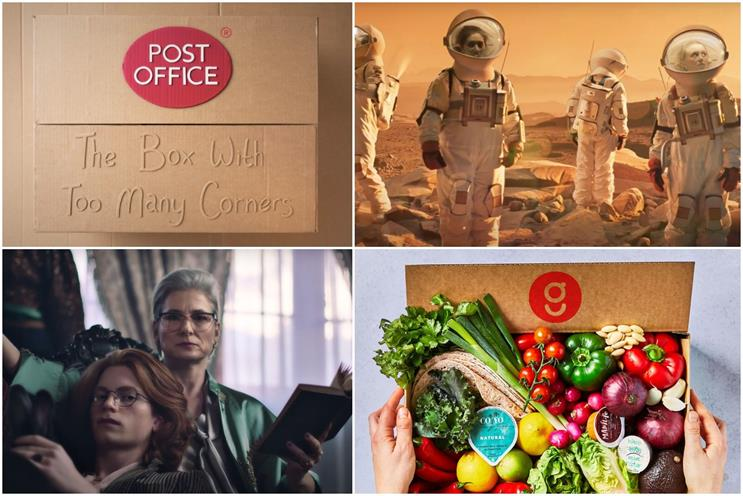 Clockwise from top left: Post Office, Deliveroo, Gousto, Boots