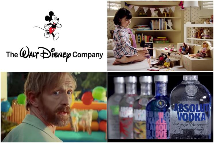 Clockwise from top left: Disney, Mattel, Absolut and More Th>n