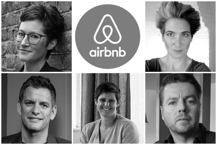 Clockwise from top left: Waters, Airbnb logo, Dimiziani, Adams, Calverley, Smith