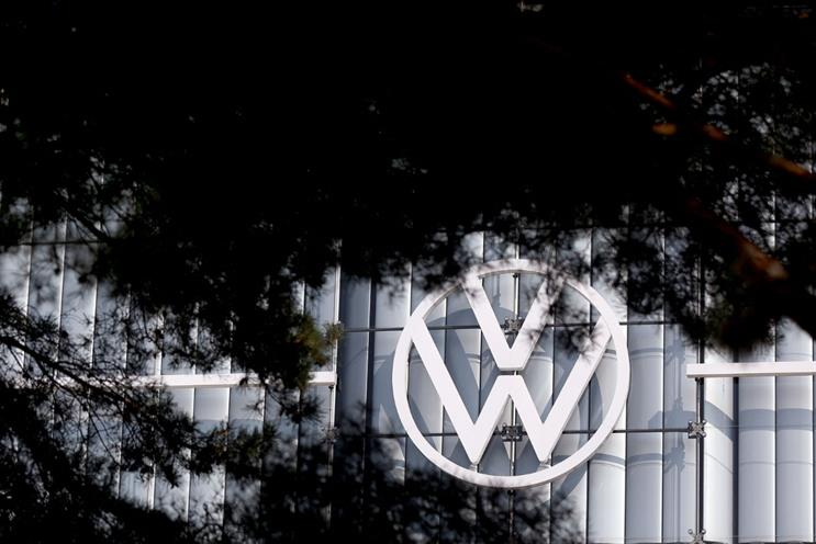 VW: logo appearing on the company's HQ in Wolfsburg. Germany