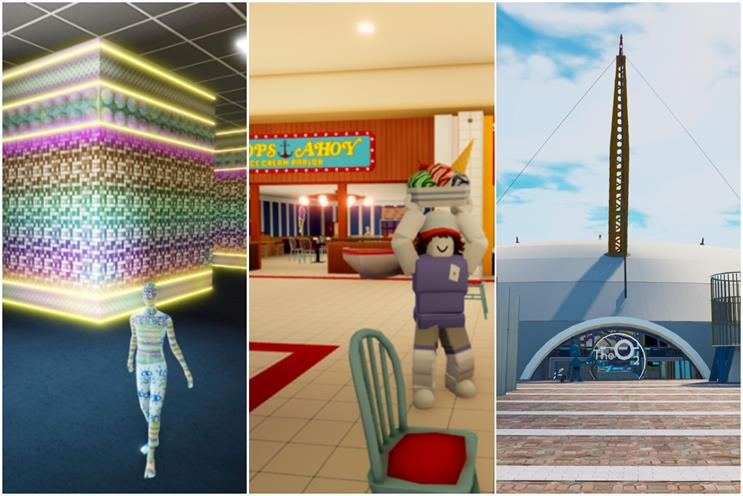 Metaverses: digital spaces from Gucci, Netflix's Stranger Things and O2 (left to right)