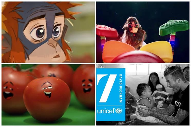 Clockwise from top left: Iceland, Maynards Bassetts, Unicef and Subway