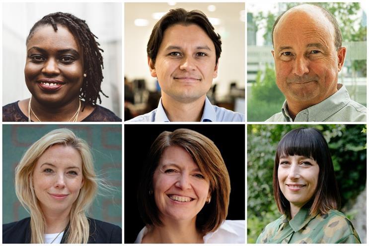 Clockwise from top left: Adegbola, Syal, Overend, Smoler, Jobling, Turner