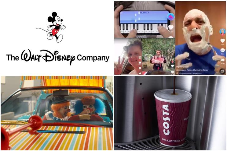 Clockwise from top left: Disney, TikTok, Costa, Audi