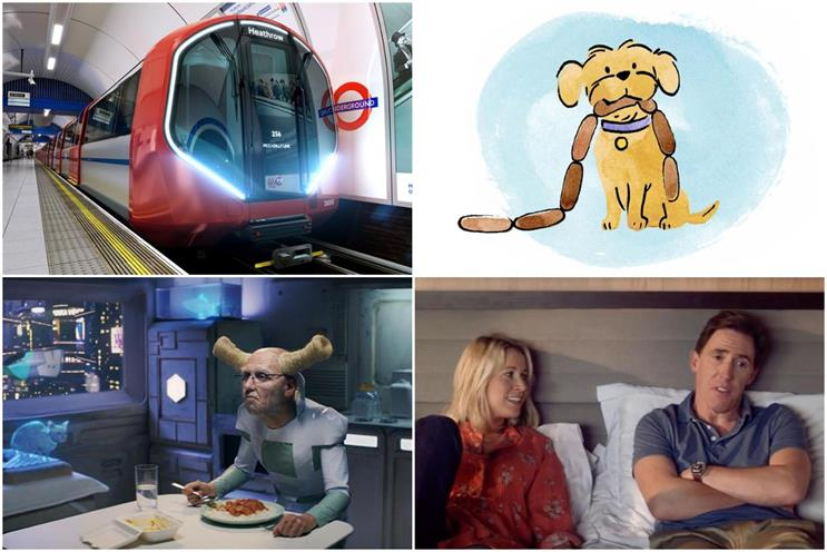 Clockwise from top left: TfL, TSB, P&O and Deliveroo