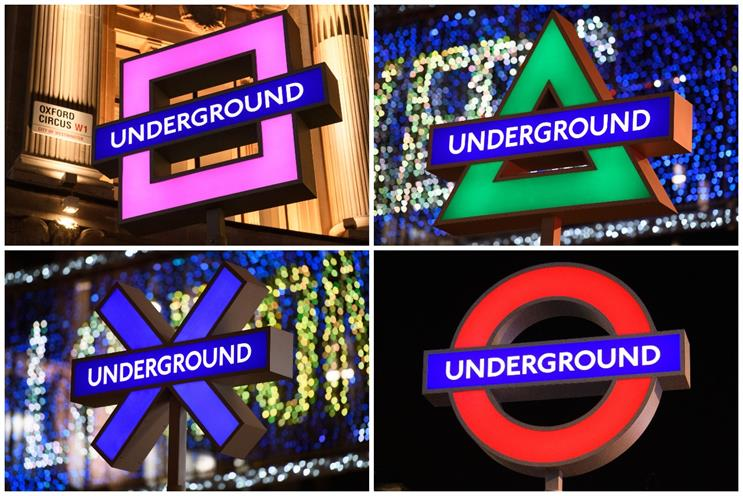 Oxford Circus: Tube roundels were replace with PlayStation's four shapes (Images: Sony)