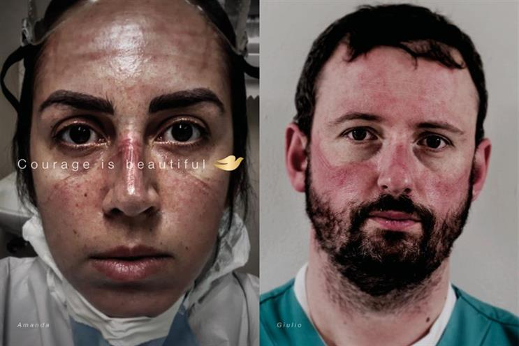 Dove: campaign by Ogilvy features healthcare workers with faces marked by protective equipment