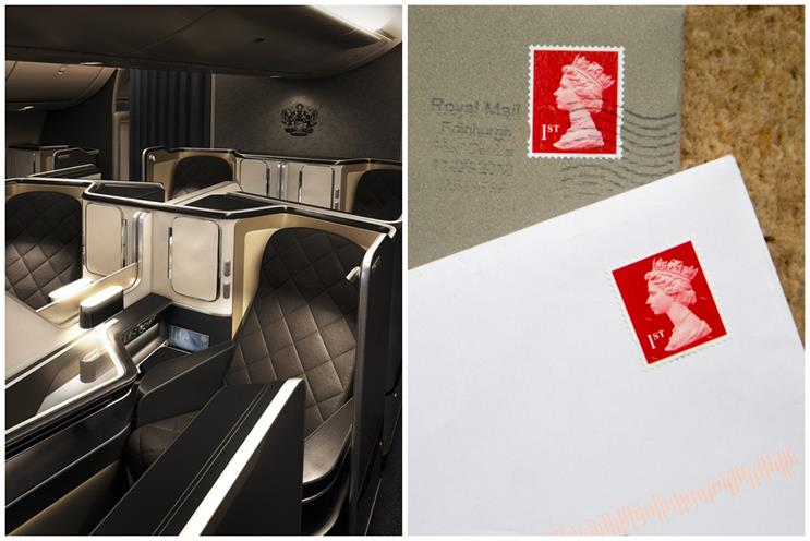 BA and Post Office: first class cabin on Boeing 787-9 (BA) and first class stamps (Geography Photos/Getty)