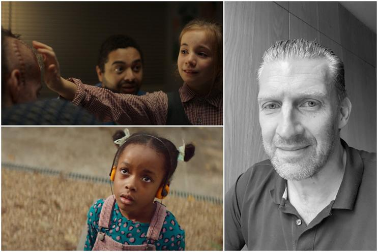 Simon Davis (right), and ads for Macmillan (top left) and Ikea (bottom left)