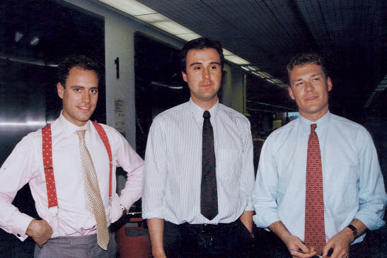 Press gang: Hayes (right) with Jonathan Wilson (centre) and Simon Daglish (left) at The Telegraph in 1989