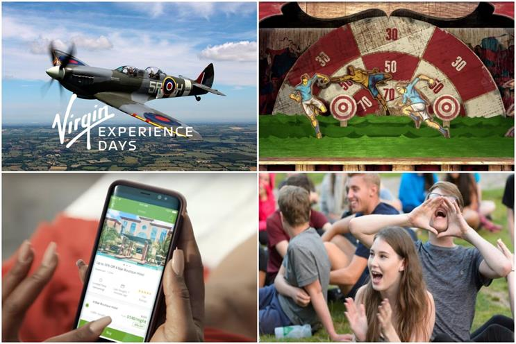 Clockwise from top left: Virgin Experience Days, William Hill, NCS and Groupon