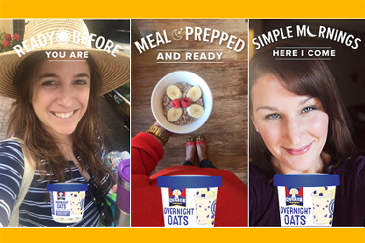 PepsiCo's Quaker Oats trialled Snapchat's new ad manager filter audiences