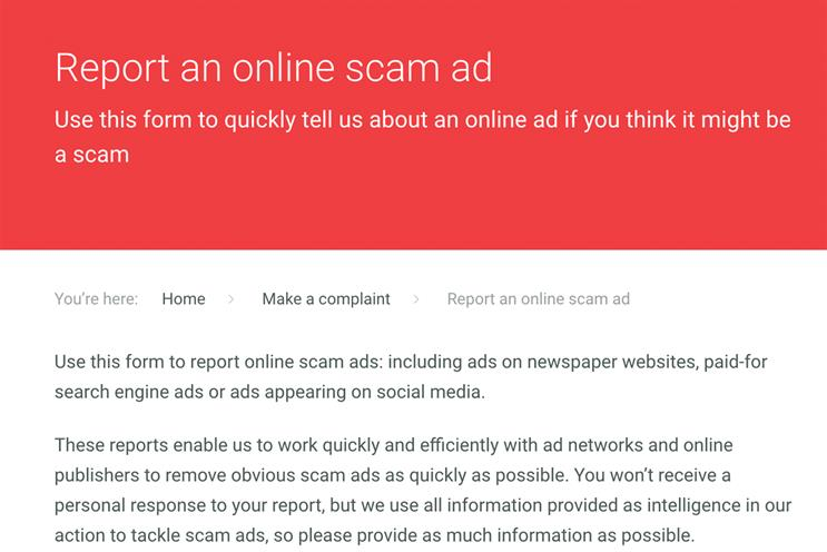 Scam Ad Alert: online users can report scam ads on search engines, social media and news sites