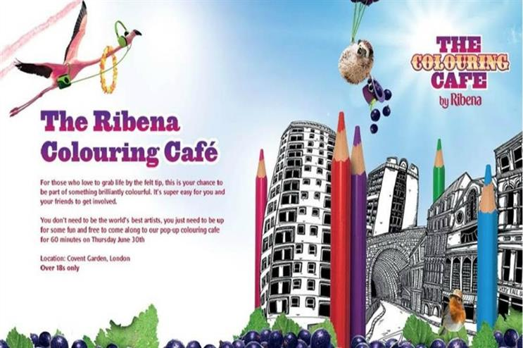 Ribena: colouring cafe to create pop-up fun