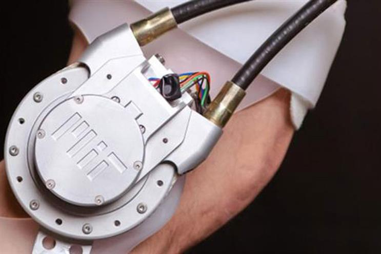Biomechatronics at MIT Media Lab: wearable robotic simulator                                            (credit: MIT)
