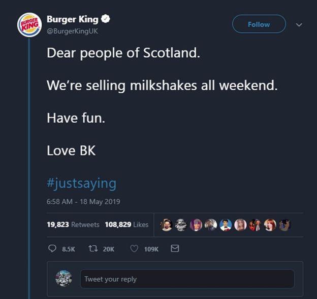 Burger King: tweet encouraged people to 'have fun'
