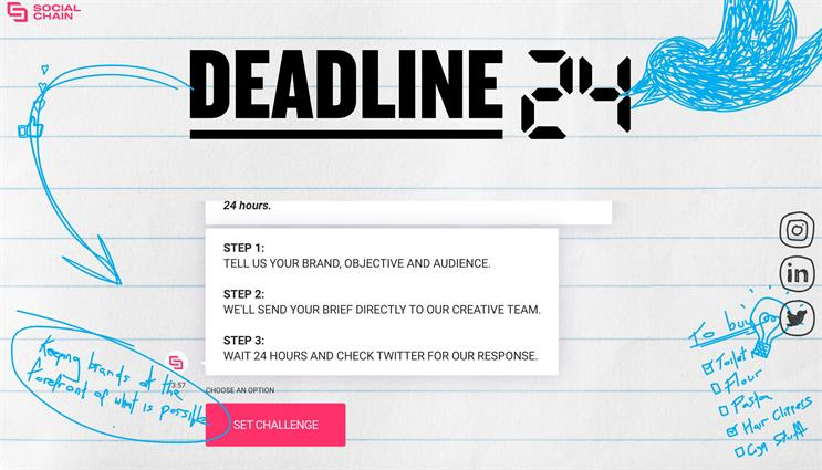 Deadline 24: offers marketers basic form for setting brief