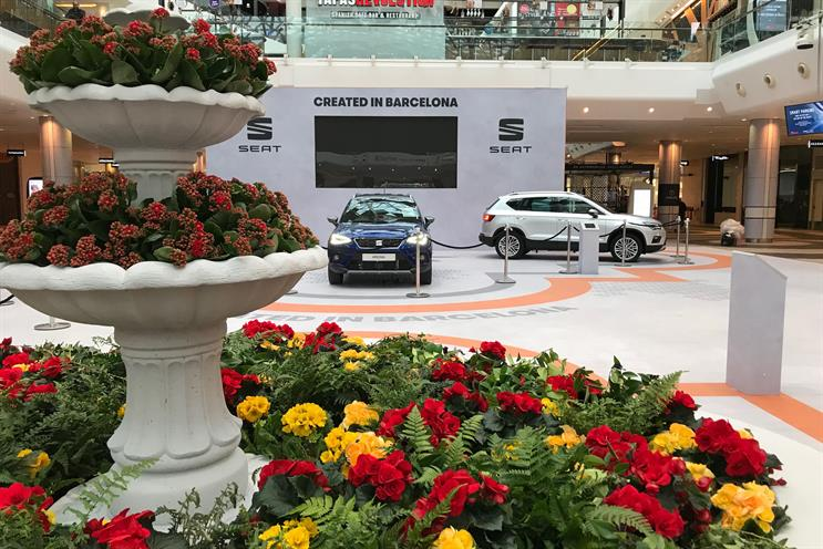 Seat turns Westfield London atrium into Barcelona piazza