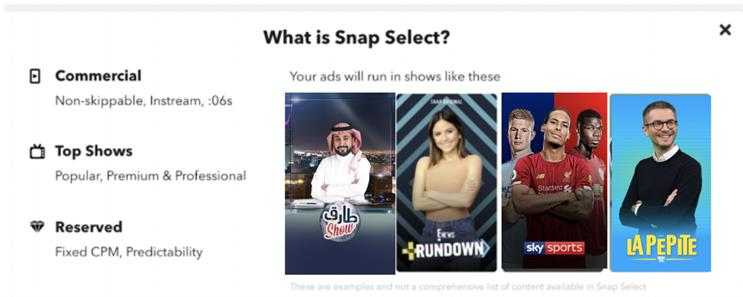 Snap Select: ad buying tool for Commercials, Snapchat's video ads format for Discover Shows