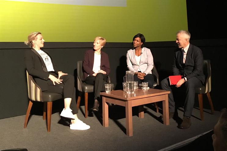 Panel (L-R): Richardson-Walsh, Nicholl, Alphonsi with The Telegraph's Jim White who moderated the panel