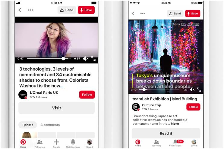 Pinterest: brands and creatives can now schedule video content in advance